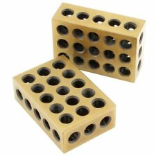 Pair 1-2-3 123 Block Matched Mill Milling Machinist 23 Holes Titanium Coated