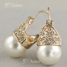 9K GF 9CT ROSE GOLD MADE WITH SWAROVSKI CRYSTAL PEARL EARRINGS STUD