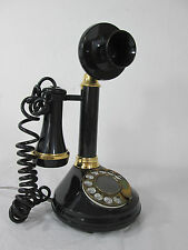 Vintage 1974 Black & Gold Rotary Phone Deco-Tel The Candlestick Telephone