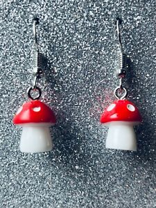 FUNKY RETRO MUSHROOM Earrings Classic Red and White Polkadot Size 1.2 x 1 cms
