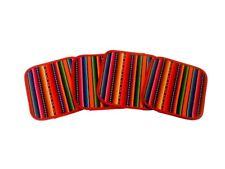 "#1312 Four Manta Hand Woven Coaster Drink Set 5""x5"" Cotton Artisan Made Peru"