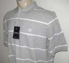 NEW 4XB CHAPS MENS POLO SHIRT Gray White Striped Short Sleeve 4XL 4X