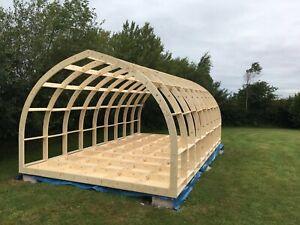Glamping Pod Frame, Garden  Office,  Self Build Kit -  6.6m (L)  x  3.2m (W)