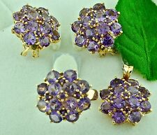 20.20ct 14k Solid Yellow Gold Ladies Amethyst Earring Pendant Ring Set Cluster