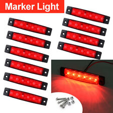"10x 12V Red 6 LED 3.8"" Auto Clearance Side Marker Truck Trailer RV LED Lights"