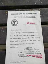 """Ww2 Proficiency Certificate Merchant Navy A/A Gunnery. """"Maid of Orleans"""""""