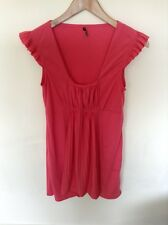 Topshop Pink Top Tunic Ruffles Detail Tshirt Ladies Size 10 <M307