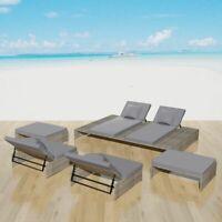vidaXL Outdoor Lounge Set 15 Pieces Poly Rattan Sunlounger Sofa Wicker Garden