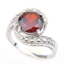 Amazing Natural Fire Round Red Garnet Gemstone Silver Ring Size 7 Party Gifts