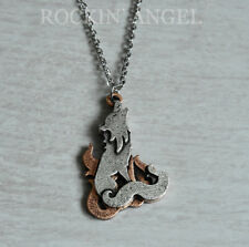 Antique Silver & Copper Plt Howling Wolf Pendant Chain Necklace Ladies Mens Gift