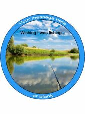 """Personalised Wishing I Was Fishing 7.5"""" Edible Wafer Paper Cake Topper"""