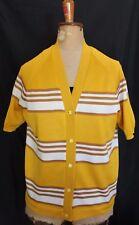 VINTAGE 1970s ~ Celeste Gold Tan White Striped Acetate Knit Short Sleeve Top 16