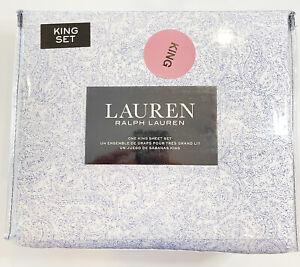 Ralph Lauren Paisley KING Deep Sheet 4 Pc. Set Blue 100% Cotton New in Package