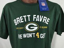 New Brett Favre We Won't 4 Get Reebok NFL Players Green Graphic T Shirt XL