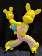 "Vintage 5"" Hard Plastic Yellow Easter Bunny Rabbit Lollipop Holder"