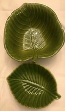 "Cindy Crawford Style ~ 2 Small Green Leaf Dessert Candy Fruit Bowls - 5"" & 6"""