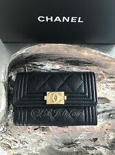 NWT CHANEL Black Caviar BOY Gold Card Holder Coin O-Case Snap Pouch Wallet