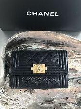 NWT CHANEL Black Caviar BOY Gold Card Holder Coin O-Case Snap Pouch Wallet