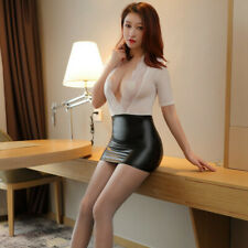 Deep V Dress Lace Women's        Bodycon PU Leather Mini Dress Wet Look Clubwear