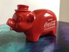 Vintage Coca Cola Coke Red Pig Piggy Bank Collectible Plastic Soda