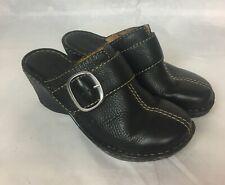 BORN Women Black Leather Mules Shoes SIZE 6.5