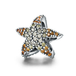 Sterling Silver Ocean Star Starfish Clear CZ Charm Fit Bracelet Necklace