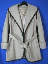 COUNTRY PACER Vintage WOOL TWEED STROLLER Coat Jacket BEIGE Big Collar Belt SZ S