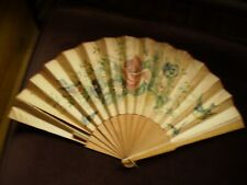 Vintage Large Lithographed Paper Fan With Birds Butterflies And Flowers