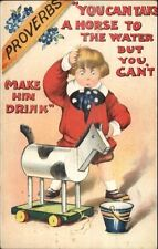 Little Boy Toy Horse PROVERB Lead A Horse to Water Can't Make Him Drink PC