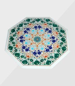 "36"" Marble Table Handmade Semi precious stones Art Work Home / Office Decor"