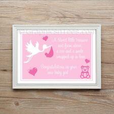 New Born Baby Girl Keep sake Christening Gift Present A4 Print