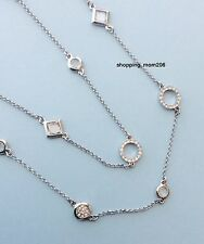 """NWT Lia Sophia """"Sultry/Frosted"""" Silver Tone w/Cut Crystals Necklace 46-49"""""""