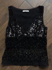 AUTH PRADA Sequins Top Sleeveless Blouse Black Silk Mohair Rare Sz 44