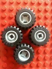 LEGO Black Tyre 21mm D.x 12mm Offset Tread Small Wide Notched 11mmx12mm x4