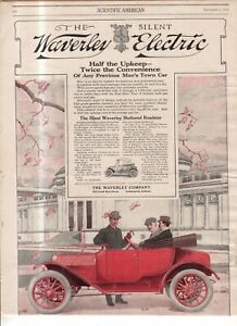 1912 Waverly Sheltered Roadster Original ad from Scientific American - Rare