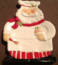SANTA CLAUS CHEF Cook CHRISTMAS SPOON REST WHITE RED GREEN Cupcake