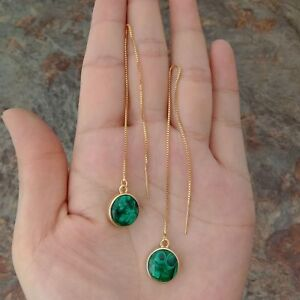 natural green coin Malachite yellow gold plated thread Earrings