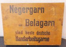 """alte Werbe Holzkiste Nähzeug/Garn"""" Negergarn und Belagarn """"N.-Glanzstofftwist"""