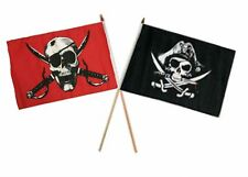 "12x18 12""x18"" Wholesale Combo Pirate Crimson & Deadman's Chest Stick Flag"