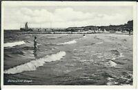 Ansichtskarte Ostseebad Zingst - Wellengang mit Badegästen - schwarz/weiß