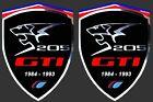 2 adhésifs stickers noir & chrome PEUGEOT 205 GTI ( à coller sur ailes avant)