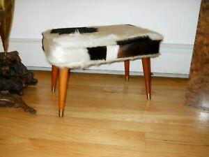 Vintage Mid Century Modern Cowhide Pony Fur ottoman Stool McCobb era