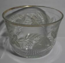 VINTAGE FROSTED ETCHED GRAPE LEAF GLASS BOWL WITH GOLD TRIM RIM