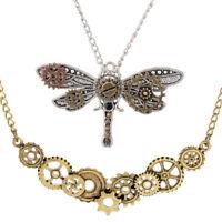 2Pcs Multi Gear Necklace Steampunk Gears Dragonfly Pendant Handmade Jewelry