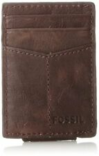 New Fossil Mens Ingram Magnetic Multi-Card Wallet Brown One Size Gift G