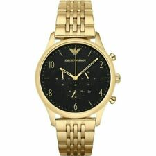 NEW EMPORIO ARMANI AR1893 GENUINE MEN'S WATCH CHRONOGRAPH BLACK DIAL GOLD STRAP