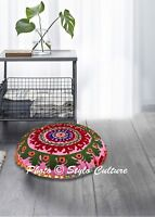 Home Decorative Embroidered Suzani Cushion Cover Round Indian Pillow Case Floor