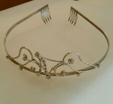 Girls Tiara Prong Set Crystal Rhinestone Metal Combs Little Princess or Pageant