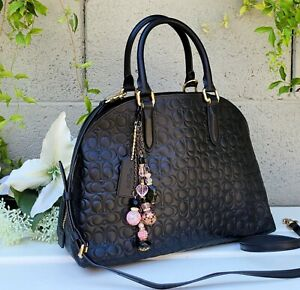 MINT Rare COACH 39759 embossed QUINN black leather Crossbody LEATHER purse bag