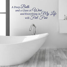 A Deep Bath and Glass of Wine Bathroom Words & Phrases Vinyl Wall Art Stickers